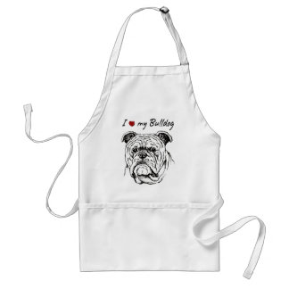I ❤ my  Bulldog words & lovely graphic! Adult Apron