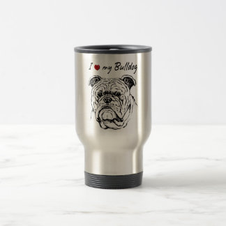 I ❤ my  Bulldog words & lovely graphic! Travel Mug