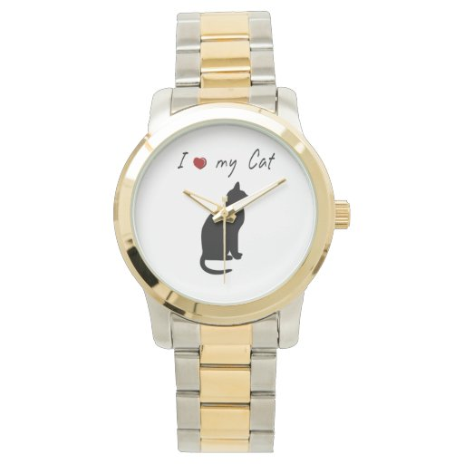 I ❤ my cat lovely silhouette design watch