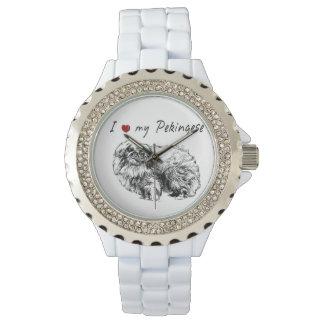 I ❤ my  Pekingese words & lovely graphic! Wristwatches