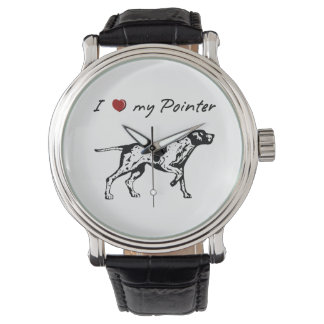 I ❤ my Pointer with a lovely dog graphic! Wristwatch