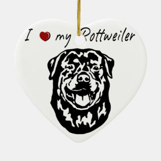 I ❤ my  Rottweiler words & lovely graphic! Ceramic Ornament