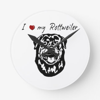 I ❤ my  Rottweiler words & lovely graphic! Round Wallclock