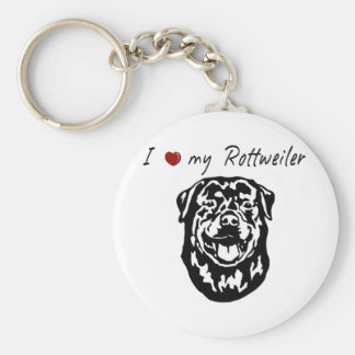 I ❤ my  Rottweiler words & lovely graphic! Keychain