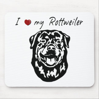 I ❤ my  Rottweiler words & lovely graphic! Mouse Pad