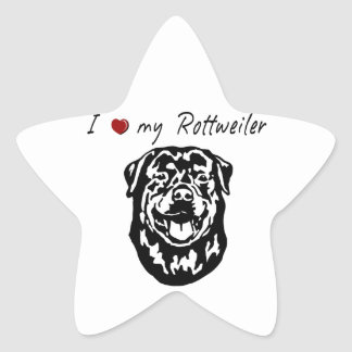 I ❤ my  Rottweiler words & lovely graphic! Star Stickers