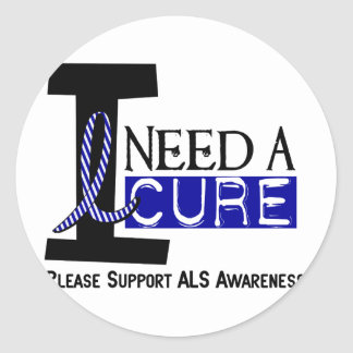 I NEED A CURE 1 ALS T-Shirts Classic Round Sticker