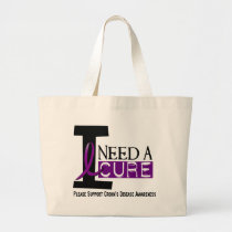 I NEED A CURE 1 CROHN'S DISEASE T-Shirts Large Tote Bag