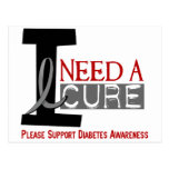 I NEED A CURE 1 DIABETES T-Shirts Post Cards