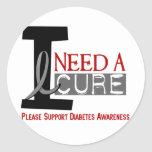 I NEED A CURE 1 DIABETES T-Shirts Round Stickers