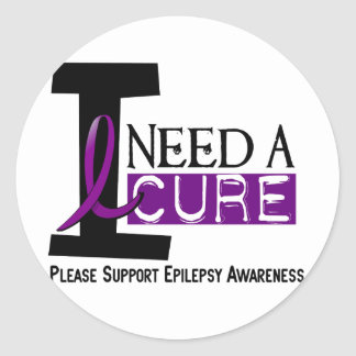 I NEED A CURE 1 EPILEPSY T-Shirts Classic Round Sticker