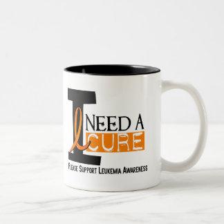 I NEED A CURE 1 LEUKEMIA T-Shirts Two-Tone Coffee Mug