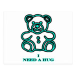 I Need A Hug Bear Cyan The MUSEUM Zazzle Gifts Postcards