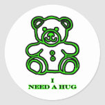 I Need A Hug Bear Green The MUSEUM Zazzle Gifts Round Sticker