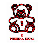 I Need A Hug Bear Red The MUSEUM Zazzle Gifts Post Card
