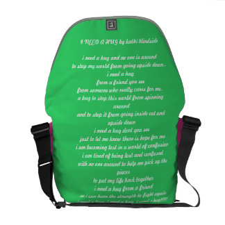 I NEED A HUG POEM  saddle bag
