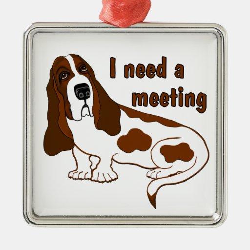 I Need A Meeting Square Metal Christmas Ornament