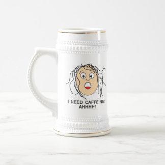 I need Caffeine, Much Better 18 Oz Beer Stein