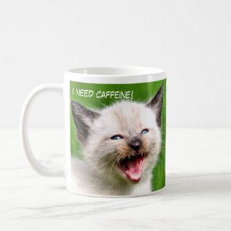 I NEED CAFFINE Funny Siamese Scary Kitten Classic White Coffee Mug