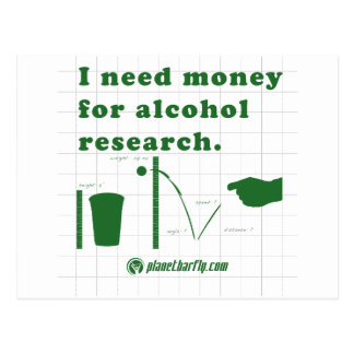 I need money for alcohol research. postcard