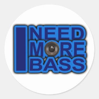 I NEED MORE BASS blue Dubstep-dnb-Club-Djay Classic Round Sticker
