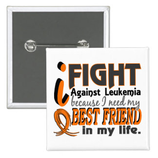 I Need My Best Friend Leukemia 2 Inch Square Button