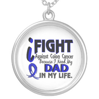 I Need My Dad Colon Cancer Silver Plated Necklace
