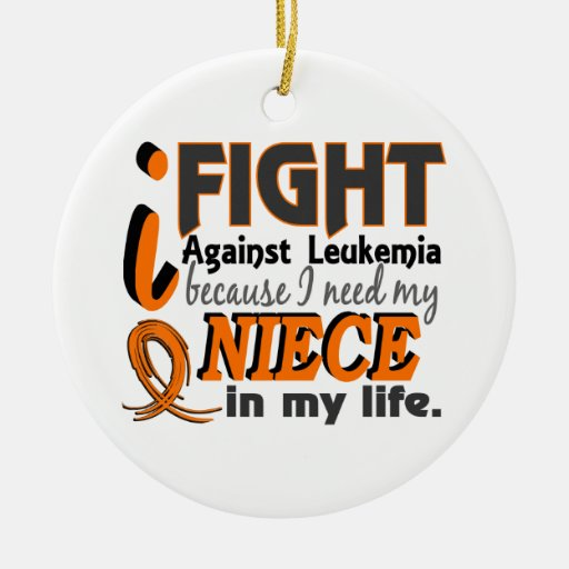 I Need My Niece Leukemia Double-Sided Ceramic Round Christmas Ornament