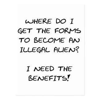 I need the benefits... postcard