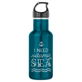 I Need Vitamin Sea Electric Blue Water Bottle
