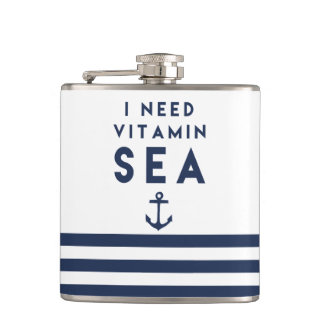 I Need Vitamin Sea Navy Anchor Quote Flask