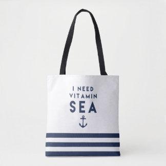 I Need Vitamin Sea Navy and White Nautical Stripe Tote Bag