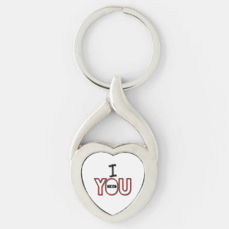I Need You Couple Quotes Silver-Colored Heart-Shaped Metal Keychain