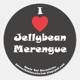 I negro de Merengue del Jellybean del corazón Etiqueta Redonda