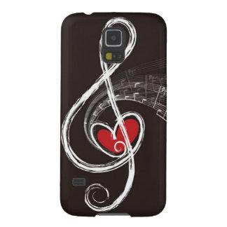 I negro rojo del corazón del Clef agudo de la Funda Para Galaxy S5