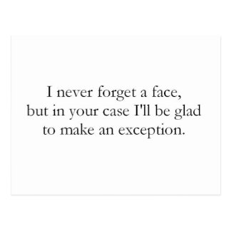 I never forget a face (St.K) Postcard