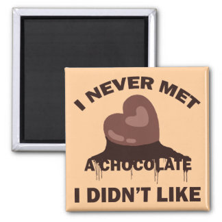 I NEVER MET A CHOCOLATE I DIDN'T LIKE 2 INCH SQUARE MAGNET