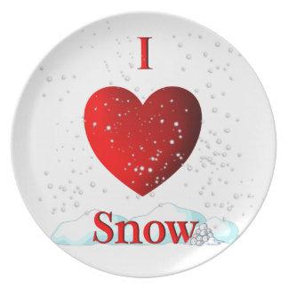 I nieve del corazón plato de cena