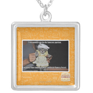 I no wanna go to da fancee partee silver plated necklace