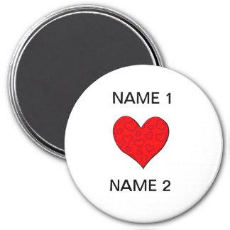 I nombre del corazón imán redondo 7 cm