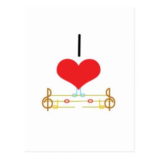 I notas de la música del corazón amor tarjeta postal
