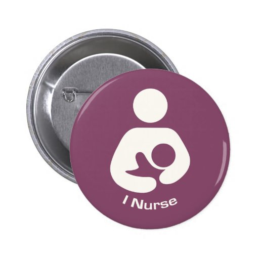 I Nurse Breastfeeding Icon - Mauve 2 Inch Round Button