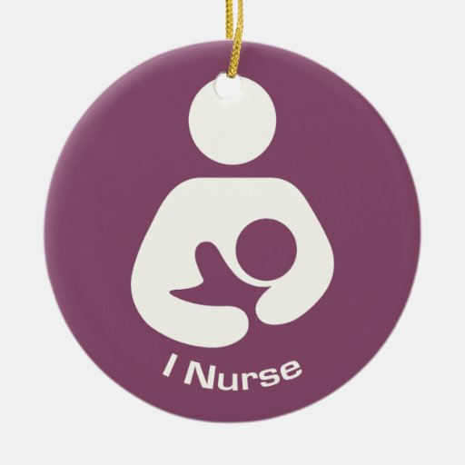 I Nurse Breastfeeding Icon - Mauve Double-Sided Ceramic Round Christmas Ornament