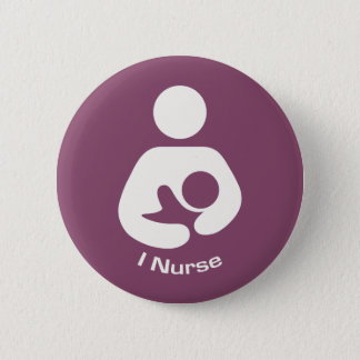 I Nurse Breastfeeding Icon - Mauve Pinback Button