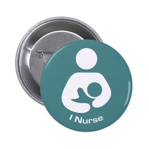 I Nurse Pro-Breastfeeding Icon (Teal) 2 Inch Round Button