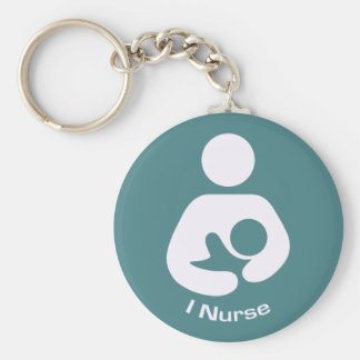 I Nurse Pro-Breastfeeding Icon (Teal) Keychain