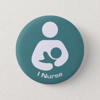 I Nurse Pro-Breastfeeding Icon (Teal) Pinback Button