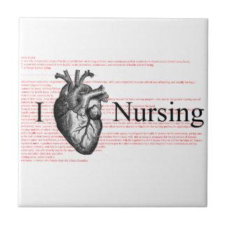 I oficio de enfermera del corazón azulejo cuadrado pequeño