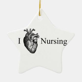 I oficio de enfermera del corazón adorno de cerámica en forma de estrella