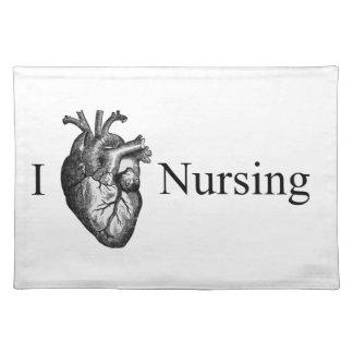 I oficio de enfermera del corazón mantel individual